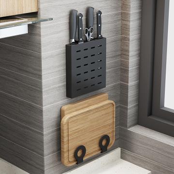 黑色免打孔不锈钢厨房置物架壁挂砧板架筷子锅盖厨具刃架收纳架子