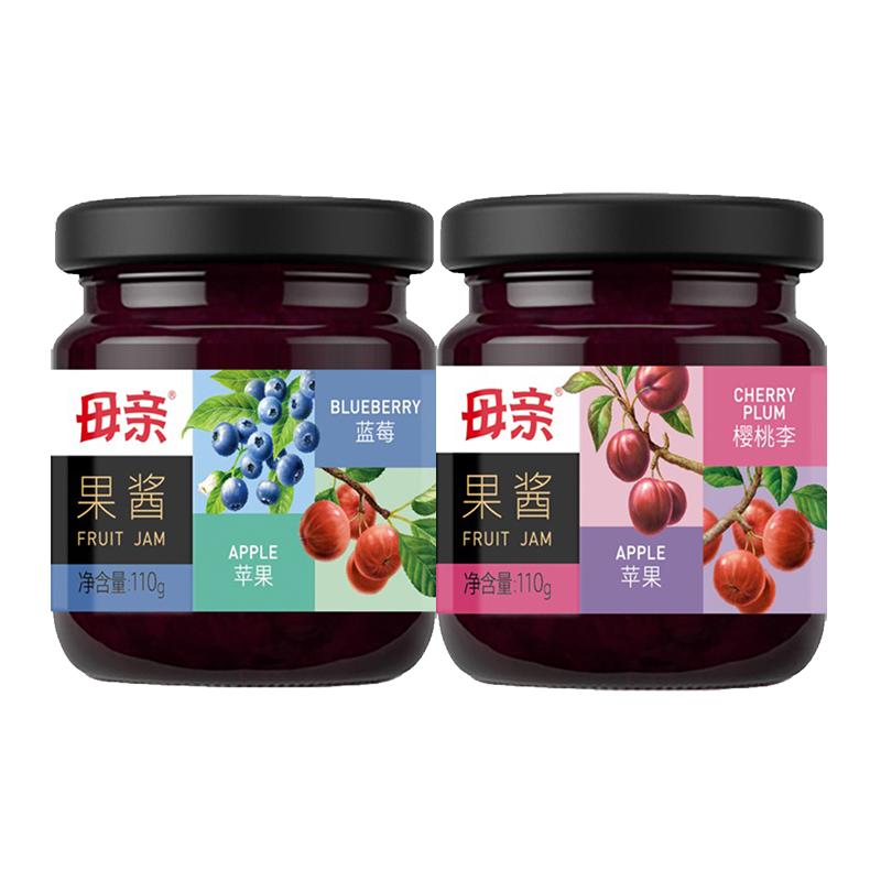 母亲果酱苹果蓝莓味+樱桃李苹果味