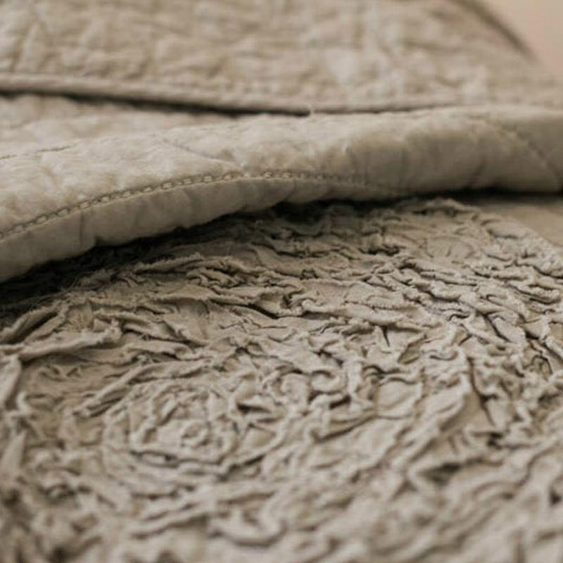 美式纯棉手工盘花绣花绗缝夏凉被 全棉空调被双人床盖三件套