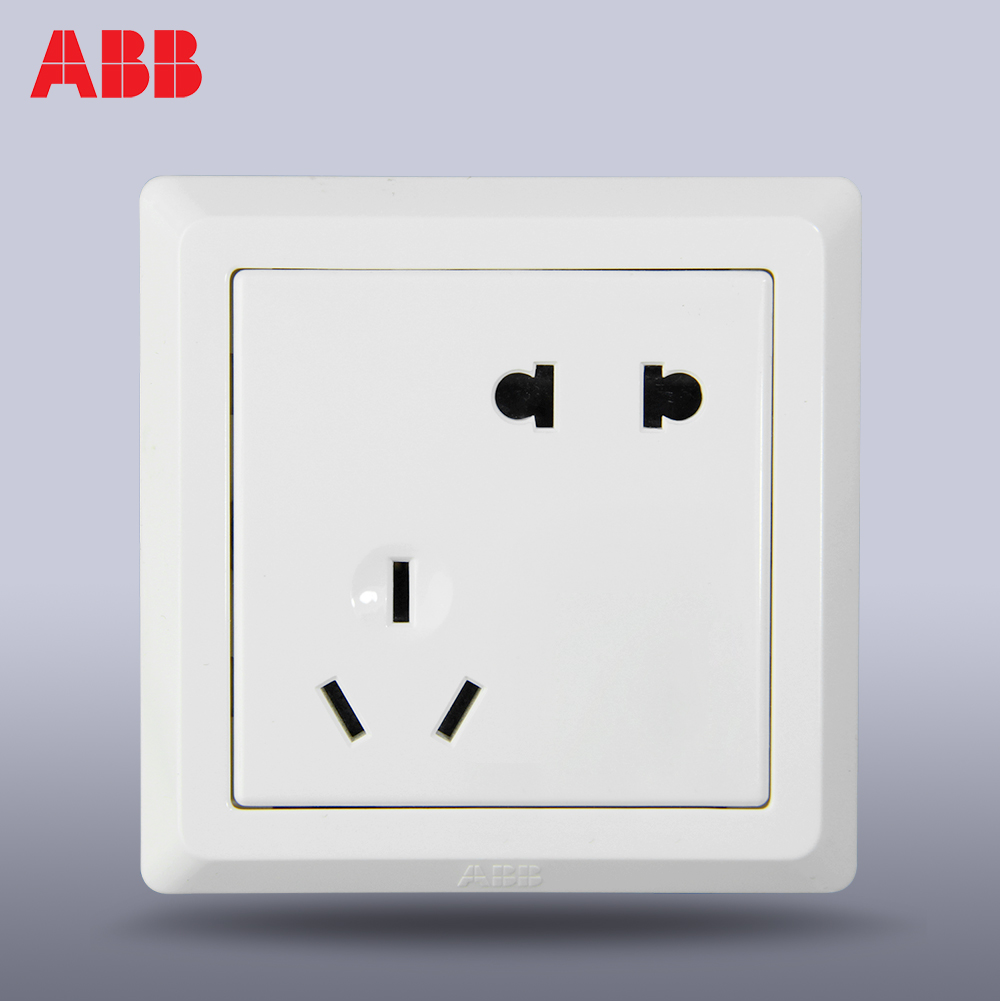 ABB官方专卖店德逸雅白色开关插座86型二三插五孔插座斜面板AE205