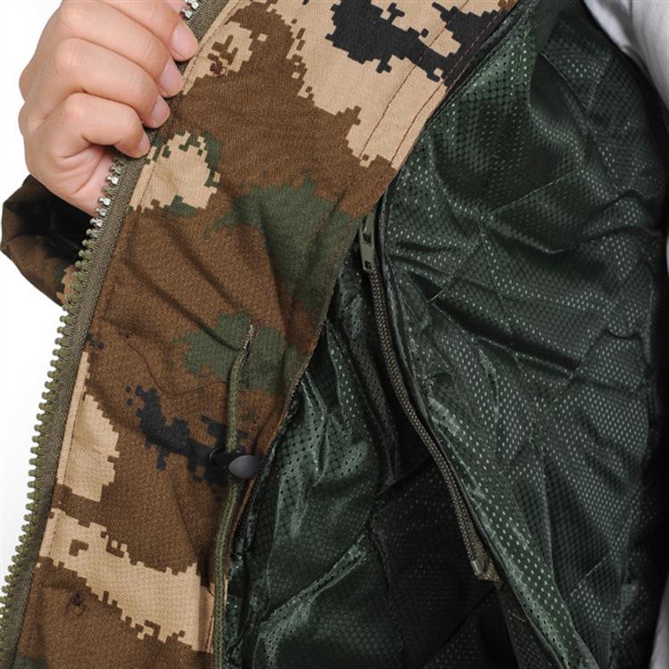 冬季加厚迷彩棉衣可拆卸活里活面中长款棉大衣男式户外运动服饰