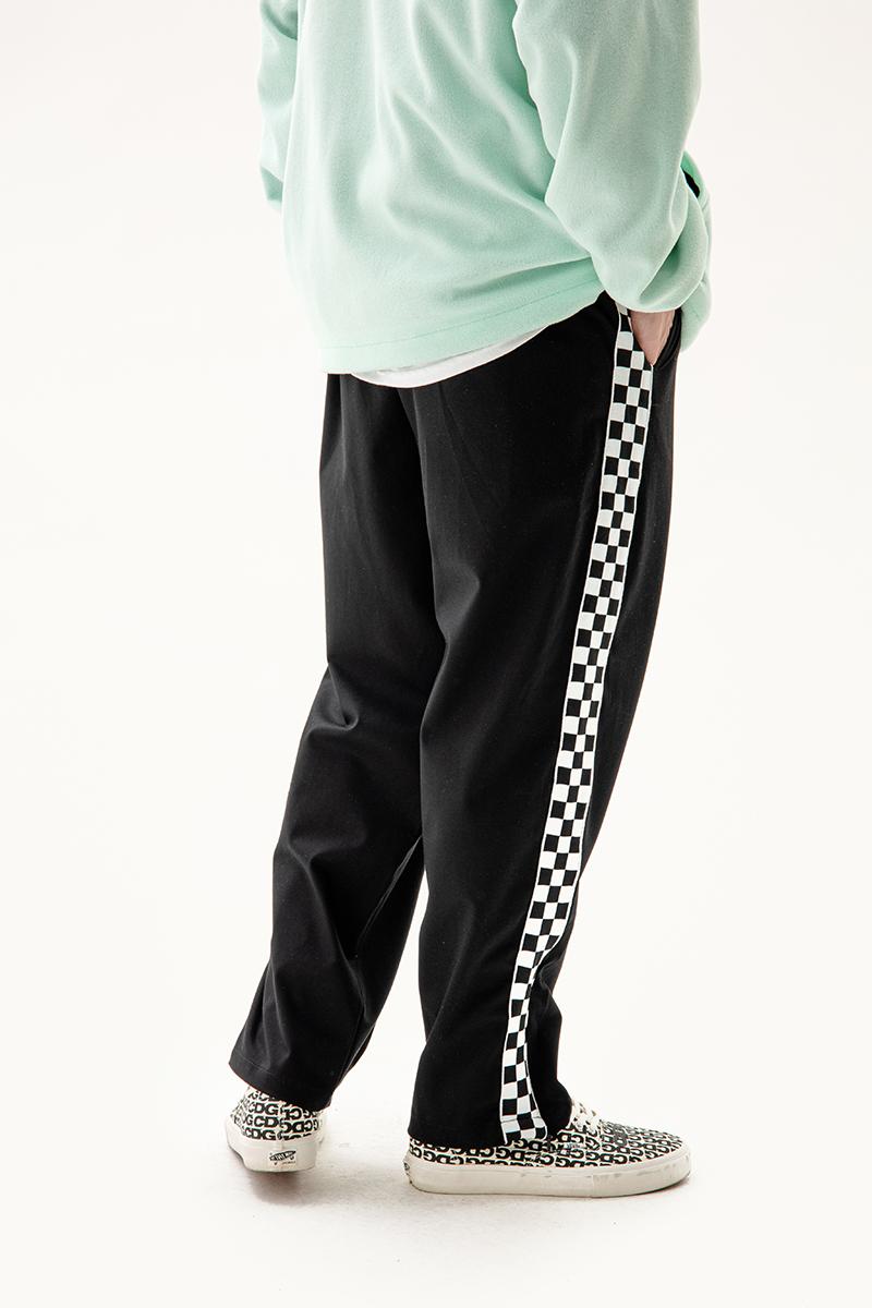 GETWITHIT棋盘格子拼接侧边织带拉链运动街舞宽松直筒垂坠感长裤