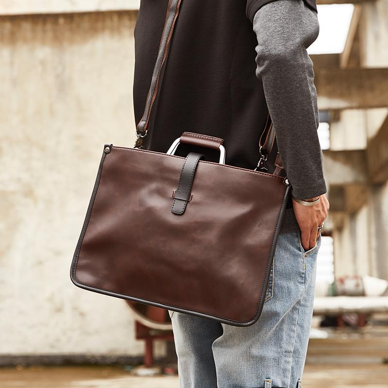 新款韓版男包英倫復古包男士女士手袋公文包手提單肩檔案包電腦包