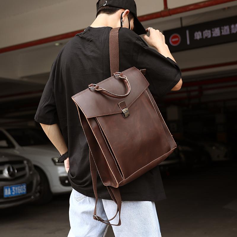原創新款韓版雙肩包 學院風復古郵差包雙肩包 定型揹包 旅行包潮