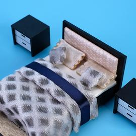 现代风卧室套装1比25建筑沙盘模型室内设计家具模型制作材料套装