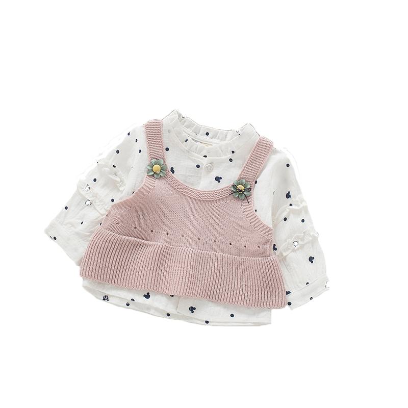 春秋装长袖女童衬衫针织毛衣马甲两件套装女宝宝背心衬衣开衫上衣