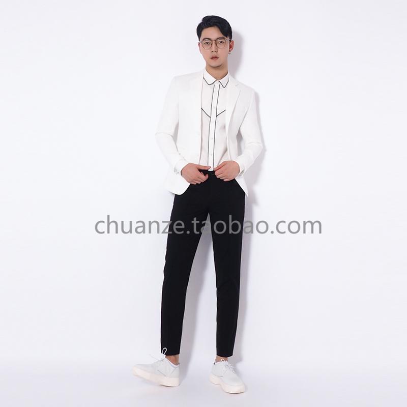 川泽定制薄款白色西服男夏修身小西装2017休闲英伦风透气单西外套