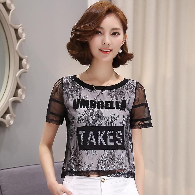 雪纺衫女新款时尚洋气印花短袖衬衫2021年夏季韩版宽松蕾丝上衣女主图