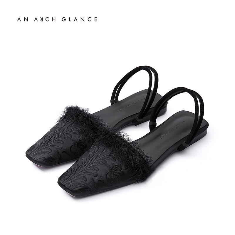 ANARCHGLANCE原創設計師鞋履 Vol.3 刺繡毛毛平底涼鞋
