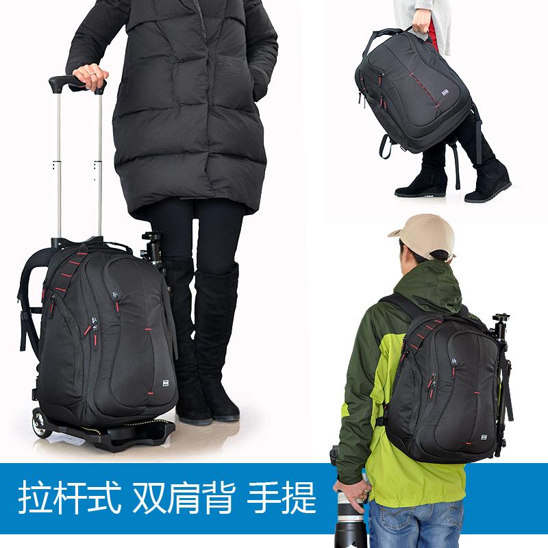 双肩时尚拉杆箱摄影包佳能专业单反相机包大容量多功能登机旅行箱
