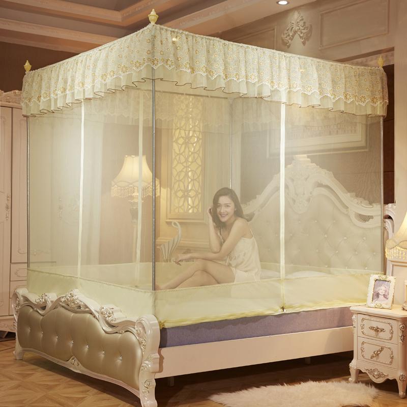 蒙古包拉鍊蚊帳1.8m床雙人家用1.5m床三開門坐床式方頂有底防掉落