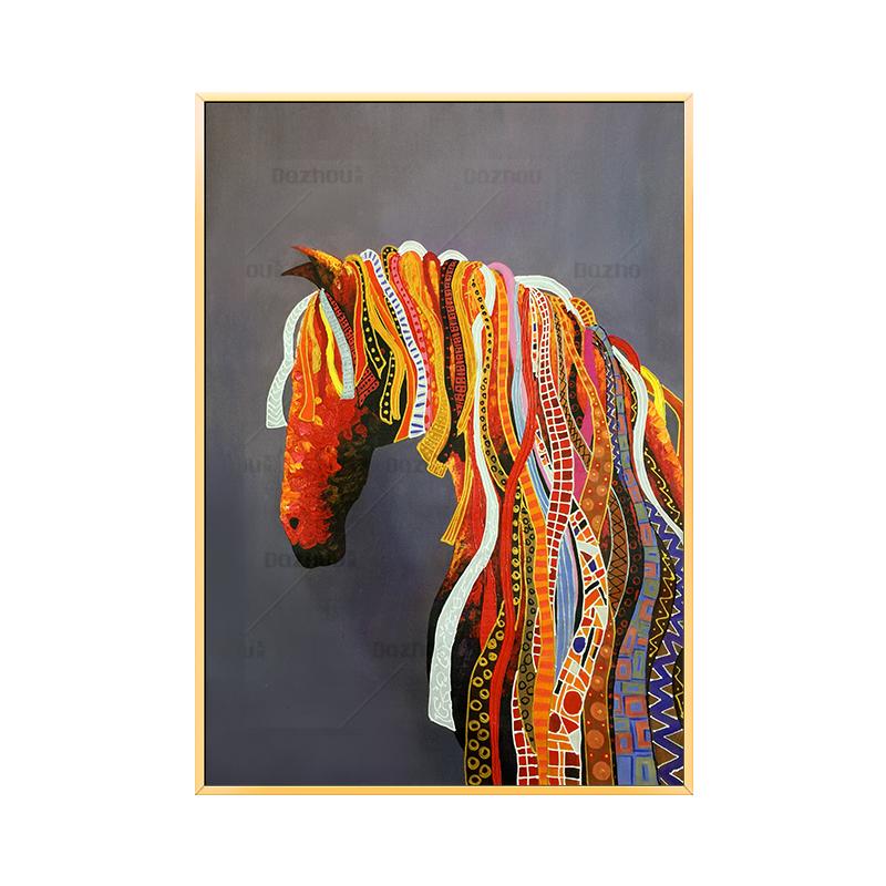 純手繪油畫動物馬現代客廳玄關掛畫酒店樣板房大尺寸豎版手工壁畫