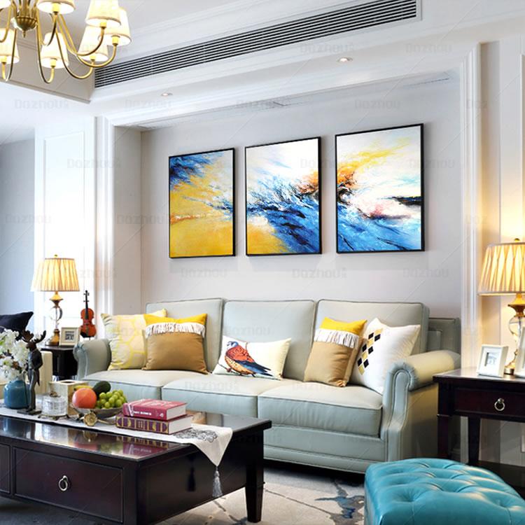 手绘油画三联组合抽象画现代简约北欧客厅装饰画餐厅酒店挂画定制