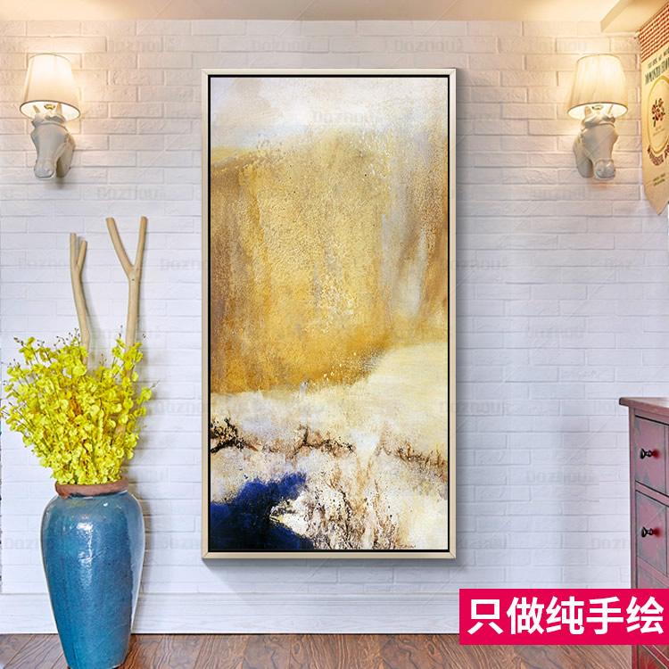现代简约手绘油画赵无极抽象画中式客厅玄关装饰画走廊挂画竖版