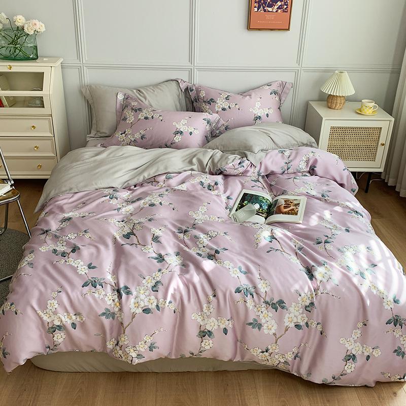 60支天丝四件套田园花被套裸睡夏季床上用品柔软丝滑冰丝床单床笠【图4】
