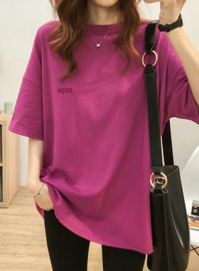 圆领刺绣小字母中长款短袖T恤女大码夏季韩版宽松显瘦学生上衣潮