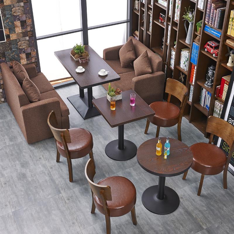 复古咖啡厅西餐厅卡座奶茶店甜品店布艺沙发桌椅组合