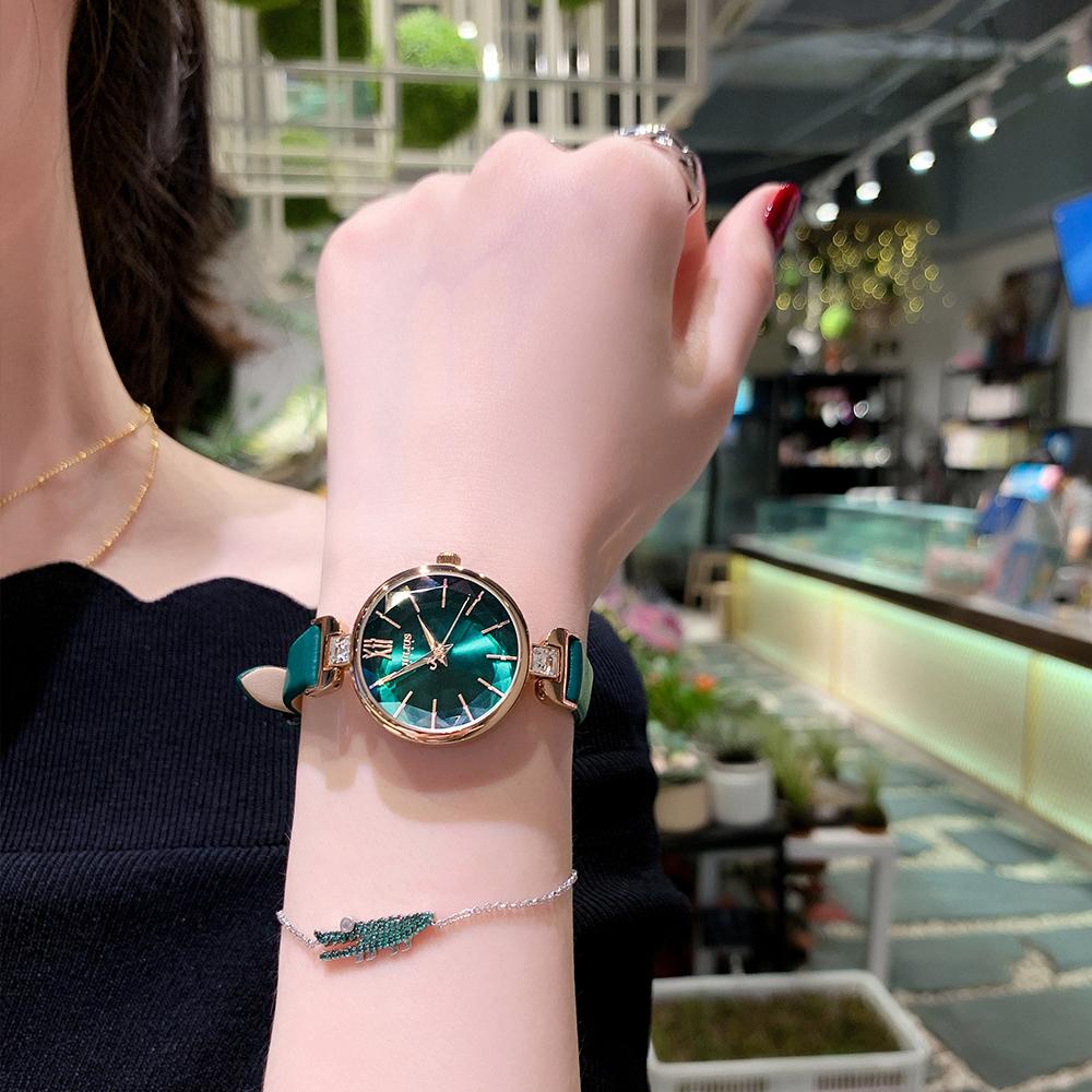 风 聚利时手表女绿色学生 ins 小巧简约气质小表盘细带防水日韩腕表
