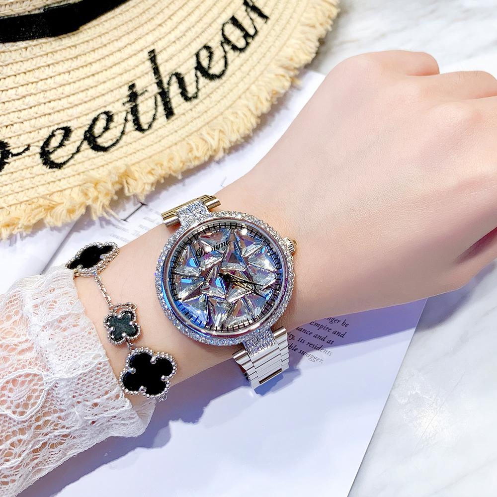 风防水品牌国产腕表 ins 大气钢带女表 时来运转满天星手表女镶钻
