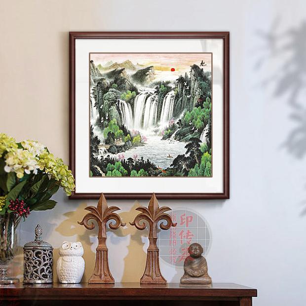 办公室山水画客厅装饰画斗方国画聚宝盆新中式玄关风水招财画带框