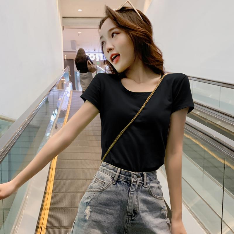短袖t恤女2021年新款修身纯色打底衫气质夏装白色上衣纯棉半袖t桖主图