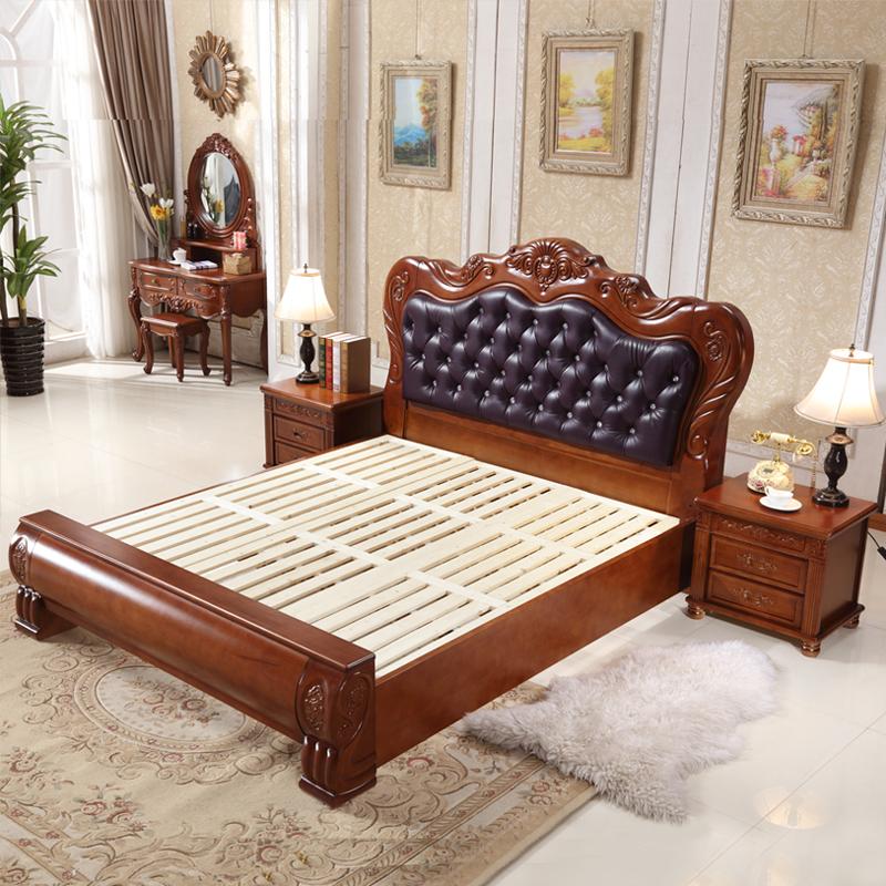 美式实木床1.8米主卧双人大床婚床1.5m欧式家具软靠皮床高箱床