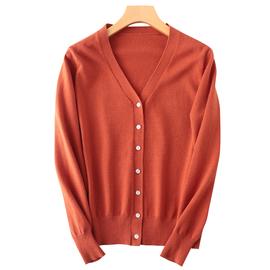 春秋新羊毛开衫女短款纯色毛衣外套V领羊毛衫宽松韩版大码针织衫