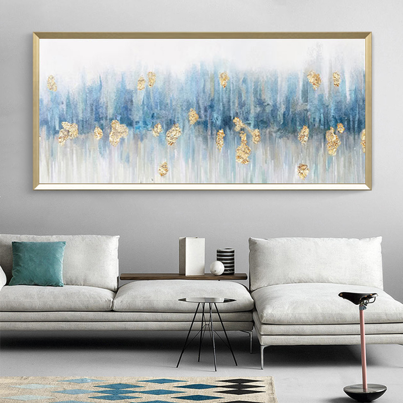 纯手绘抽象金箔油画客厅现代简约床头卧室酒店轻奢大芬村挂画横版