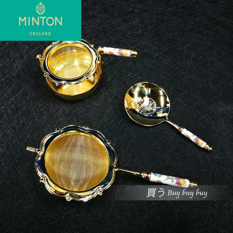 現貨wedgwood日本Minton明頓茶漏鍍金色茶勺骨瓷茶濾茶漏濾茶器