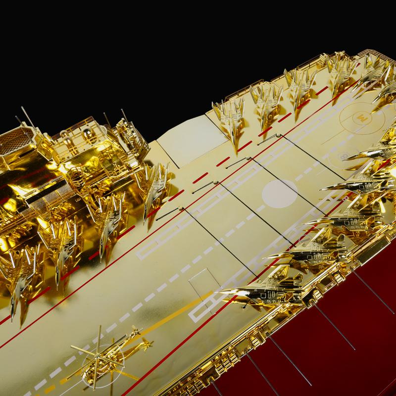 1:400辽宁号航母模型镀金版海军舰船模型摆件航空母舰航模礼品
