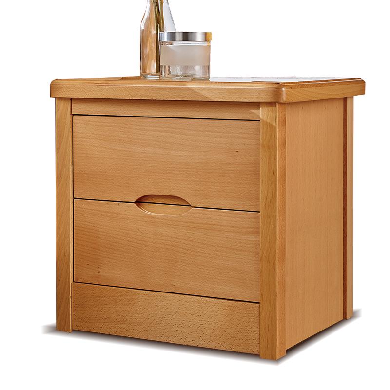 欧式德国进口全榉木实木床头柜双抽榉木床头柜储物柜