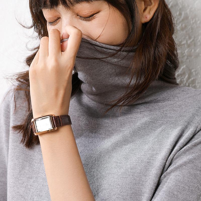 秋冬女堆堆领修身百搭毛衣纯色打底针织衫 元 0 反季清仓第二件