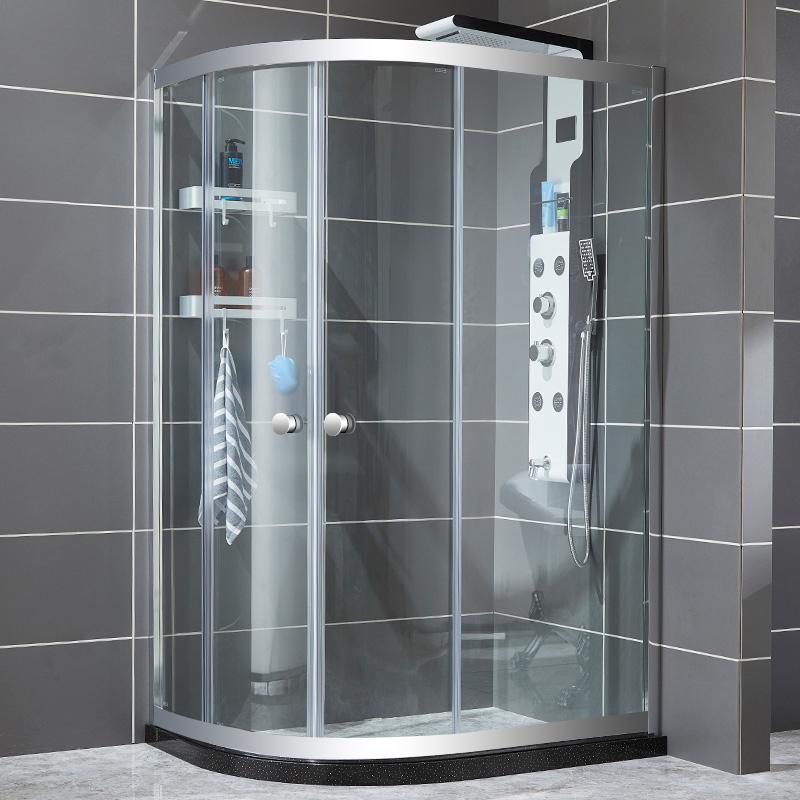 太空铝淋浴玻璃浴室简易淋浴房弧扇形沐浴房隔断洗澡卫生间屏定制