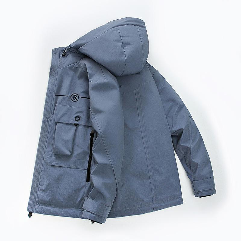高梵正品羽绒服2020年新款男简约连帽工装大口袋秋冬保暖外套90绒