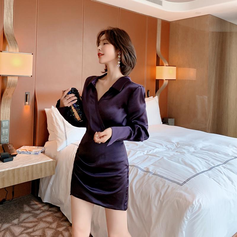 香芋紫娃娃领短裙包臀