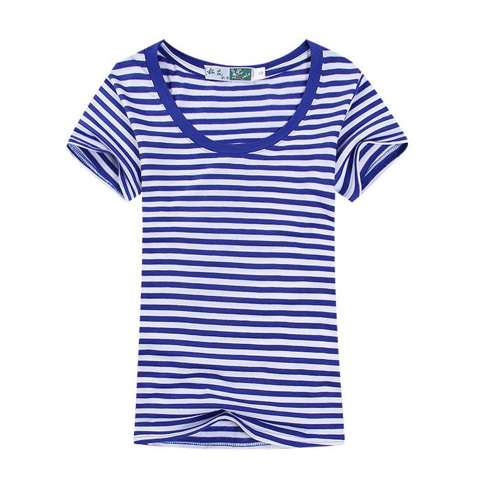 恤亲子装蓝白条水手航海服装 t 条纹海军衫海魂衫男女儿童纯棉