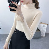 New Korean version of lace stitching long-sleeved bottoming shirt shirt elastic stretch high collar pullover sweater sweater women tide