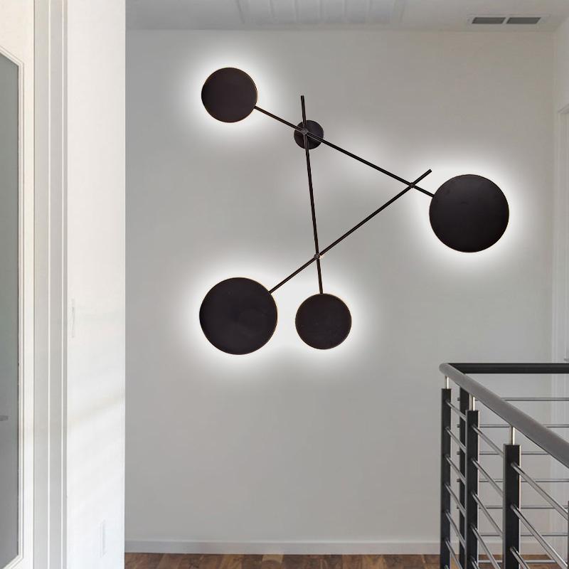 北欧工业风壁灯客厅现代简约创意个姓圆形床头灯卧室设计师墙壁灯