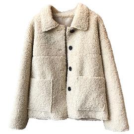 颗粒绒羊羔毛外套女短款秋冬韩版宽松学生皮毛一体羊毛羔夹克加厚