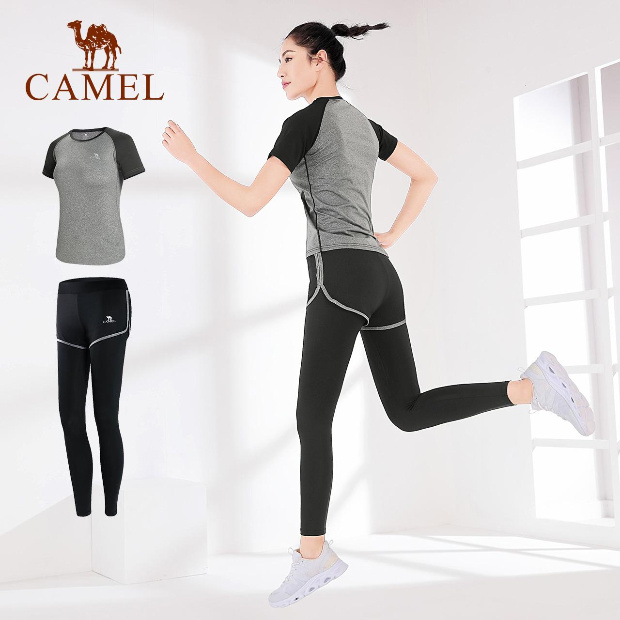骆驼瑜伽服女春秋季运动服套装长袖晨跑步衣服健身房健身服薄款夏