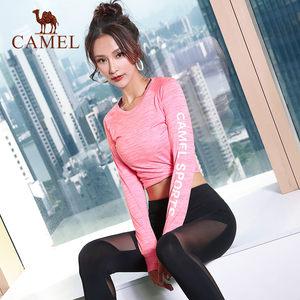 骆驼秋季服上衣长袖舒适新款跑步运动紧身衣健身服休闲修身T恤女