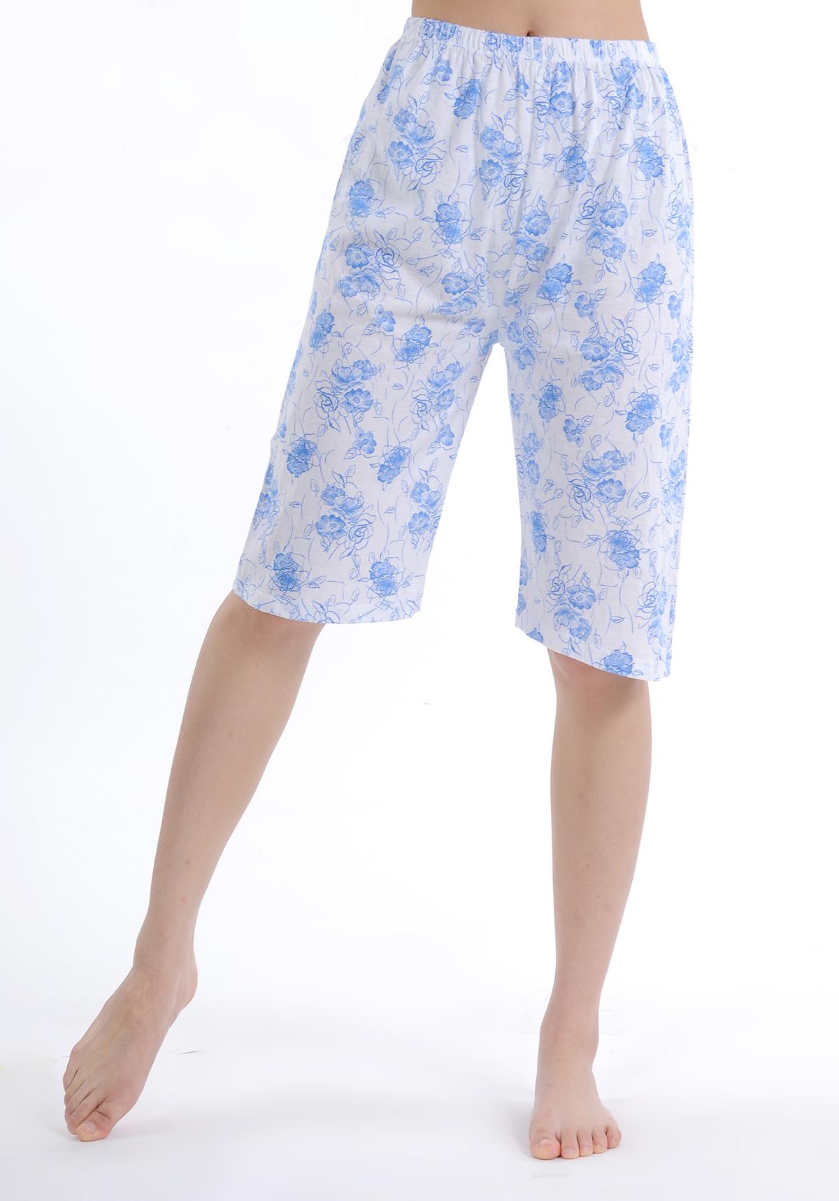包邮 女士全棉夏季印花打底睡裤 高腰薄款宽松纯棉空调裤居家裤