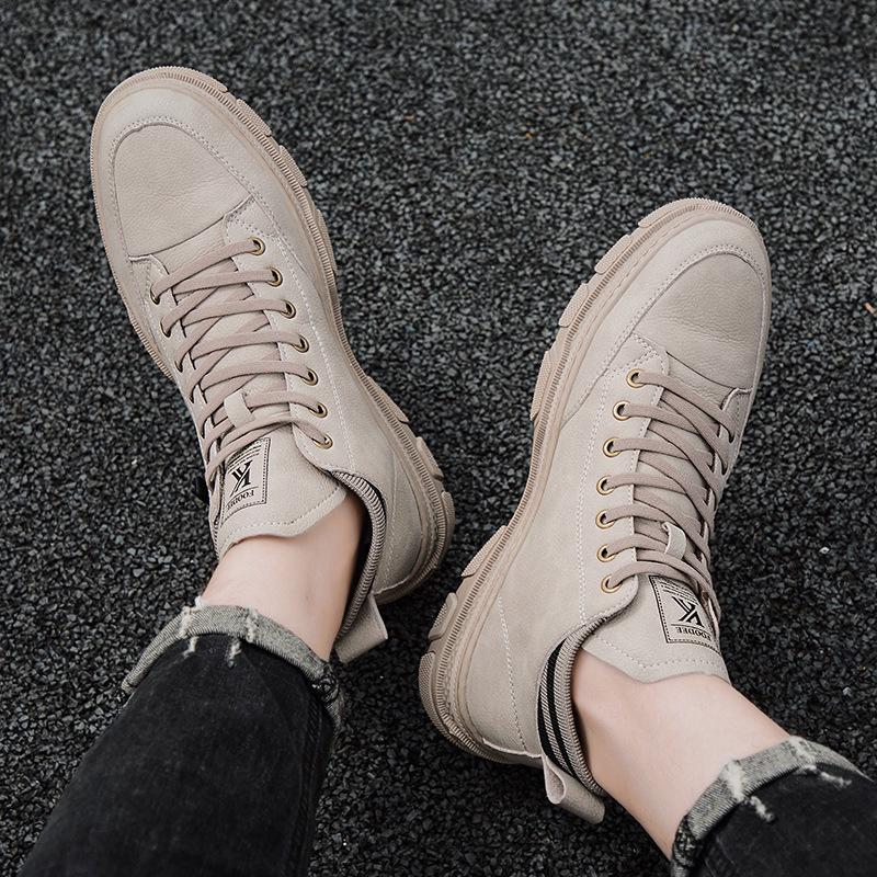 秋季新款男鞋百搭高帮板鞋流行休闲马丁靴白靴39-44短靴加绒男靴