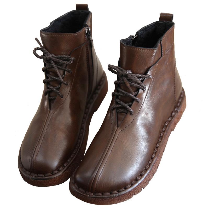 新款森系民族风软底马丁靴加绒女鞋 2020 秋冬文艺复古保暖系带短靴