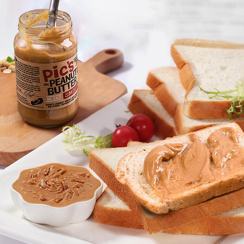 又妈优选新西兰皮卡思Pics儿童顺滑花生酱低脂无盐无糖拌面酱面包