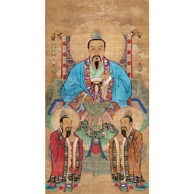 道教三清畫像絲綢掛畫道場靈寶元始道德天尊三清祖師太上老君神像