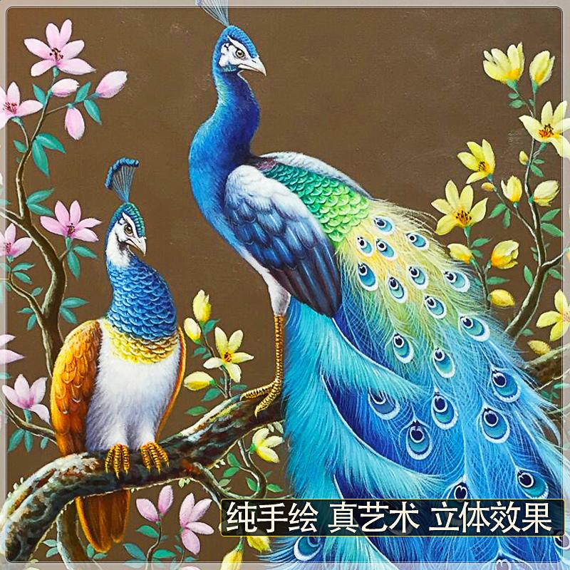 純手繪孔雀油畫玄關過道圓形掛畫大芬村定制中式客廳裝飾風景壁畫