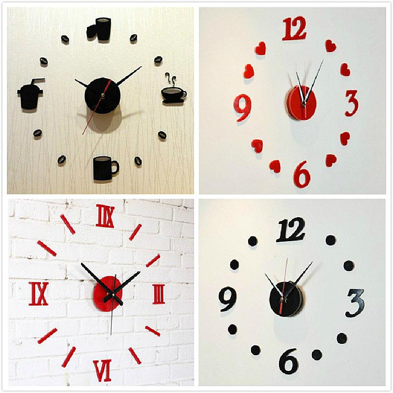 簡約現代時鐘DIY鍾個性鐘錶 亞克力鐘錶牆貼客廳掛鐘掃秒機芯靜音
