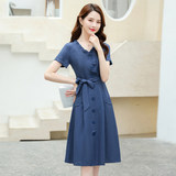 Short-sleeved summer dress 2020 popular women in France niche big yards temperament was thin waist skirt thin section