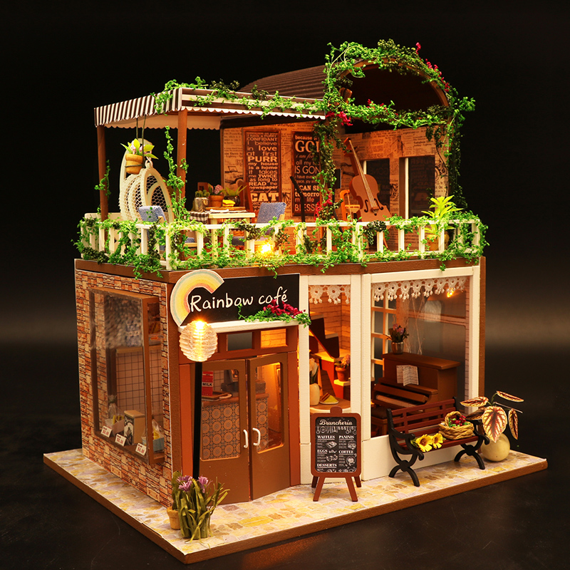 diy小屋时光咖啡屋花店手工制作房子模型拼装玩具情人节生日礼物